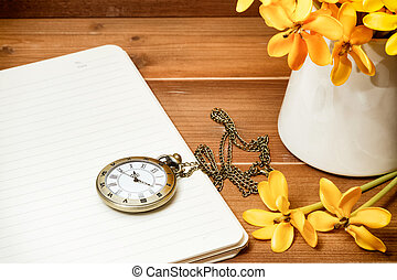 antigüedad, flor, de madera, Gardenia, reloj, amarillo,...