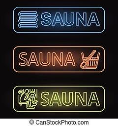 Set of Neon Sauna Banners - Neon Signboards of Sauna -...