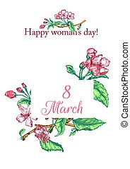 Womens day card - Vector Illustration of Womens day card for...