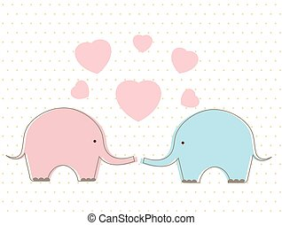 Cute elephants with heart