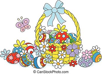 Easter wicker basket - Decorated basket with colorfully...