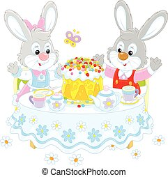 Bunnies with an Easter cake - Small grey rabbits at the tea...