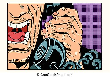 Angry man talking on the phone. Vintage pop art retro comic...