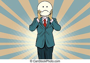 sadness Man smiley Emoji face. Vintage pop art retro comic...