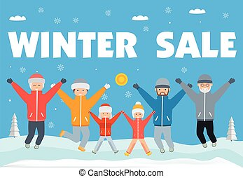 Winter sale banner. Happy big family in winter clothes jumping up and down