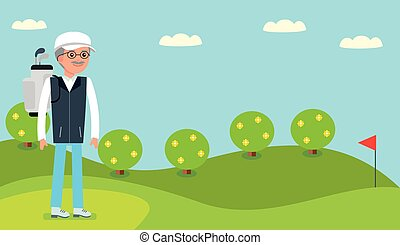An elderly man came to the Golf course to play. - An elderly...
