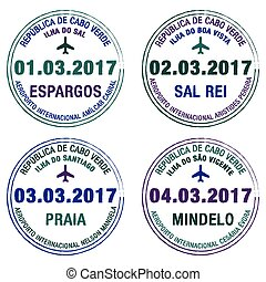Passport stamps Cape Verde in vector format.