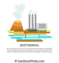 Geothermal power station earth thermal heat energy vector...