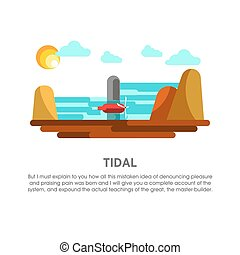 Tidal power station tide mill energy vector flat...