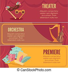 Theater or orchestra premiere banners vector templates -...