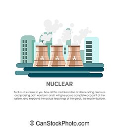 Nuclear power station atomic reactor vector flat...