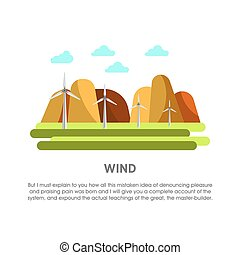 Wind power station windmill energy vector flat illustration...