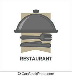 Restaurant logo template of vector dish tray and tableware -...