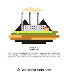Coal power station fossil fuel energy plant vector flat...