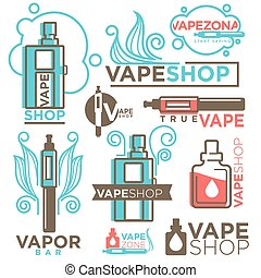 Vape shop logos templates vector icons set - Vape shop logos...