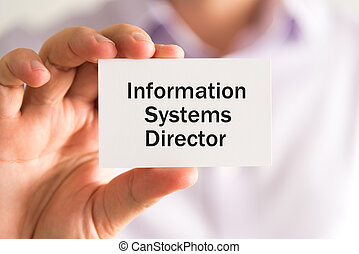Businessman with INFORMATION SYSTEMS DIRECTOR card - Closeup...