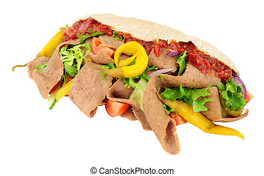 Doner Kebab And Salad In Pitta Bread - Doner kebab meat and...