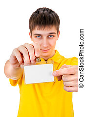 Young Man with Empty Badge - Young Man shows on Blank Badge...