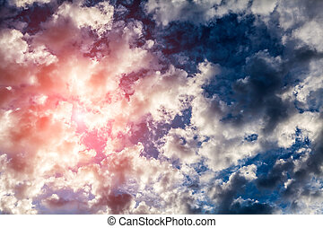 Cloudscape with a Sunlight - Red Sunlight in the Dark and...