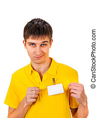 Young Man with Empty Badge - Annoyed Young Man with Empty...