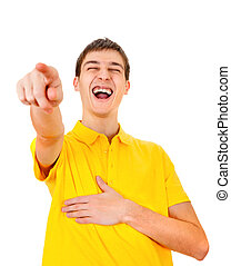 Young Man pointing - Cheerful Young Man Pointing Isolated on...