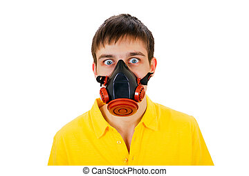 Young Man in Gas Mask - Surprised Young Man in Gas Mask...
