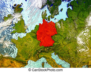 Germany on illustrated globe - Germany highlighted in red on...