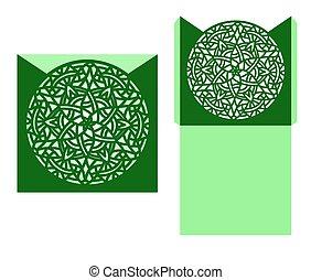 Laser cut vector card temlate with mandala ornament. Cutout...