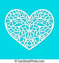 Laser cut vector heart ornament. Cutout pattern silhouette...