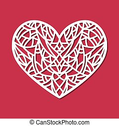 Laser cut vector heart ornament. Cutout pattern silhouette...