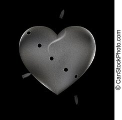 shots and stone heart - black background and the large stone...
