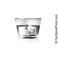 white glass and ice - white background, the large glass of...