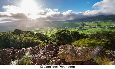 Terceira island in Azores with town and fields - Storm...