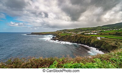 Atlantic coastline time lapse in Azores islands, volcanic...