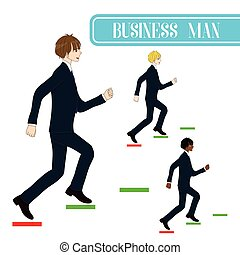 Set Handsome Business Man Running to Goal.