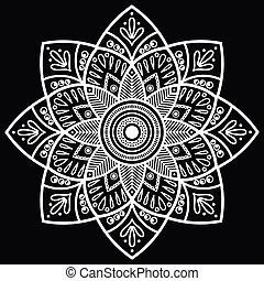 Mandala. Indian antistress medallion. Abstract islamic flower, arabic henna design, yoga symbol.