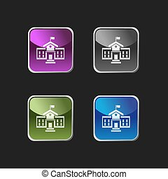School building icon on square colored buttons