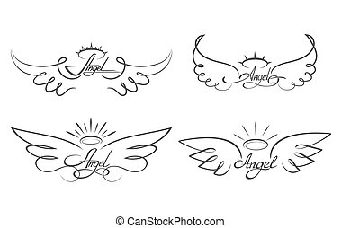 Angel wings drawing vector illustration. Winged angelic...