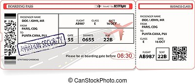Vector template of boarding pass tickets