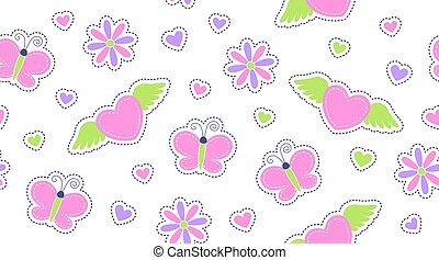 seamless pattern of cute stickers