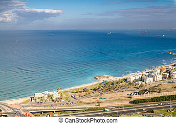 View of the Mediterranean sea and Haifa, Israel - View of...
