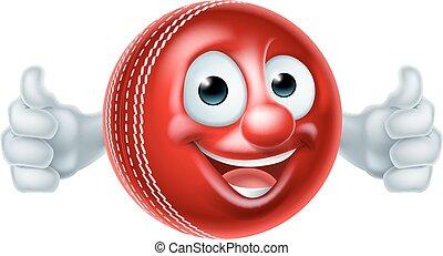 Cartoon Cricket Ball Character - Cricket mascot cartoon...