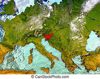 Slovenia on illustrated globe - Slovenia highlighted in red...