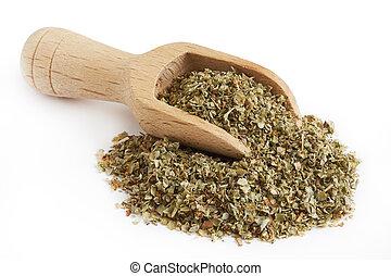 Dried marjoram leaves - Pile of dried marjoram leaves with...