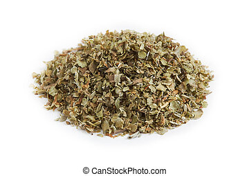 Dried marjoram leaves - Pile of dried marjoram leaves...