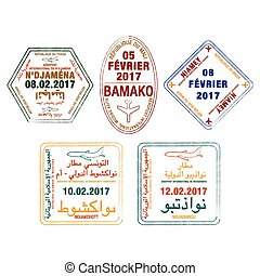 Stylized passport stamps of Mauritania, Chad, Mali and Niger in vector format.