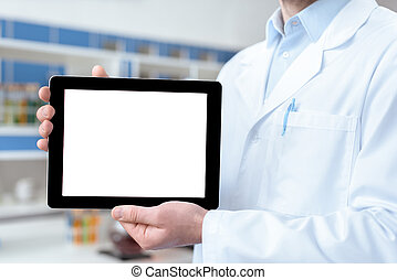 Close-up partial view of doctor in lab coat showing digital...
