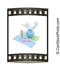 3d man on a karemat with fitness ball. 3D illustration. The...