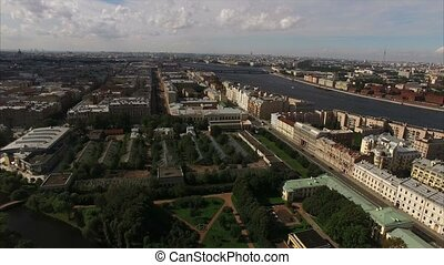 Aerial view of historical centre of Saint-Petersburg with...