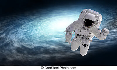 cosmonaut and spiral galaxy, elements of this image...